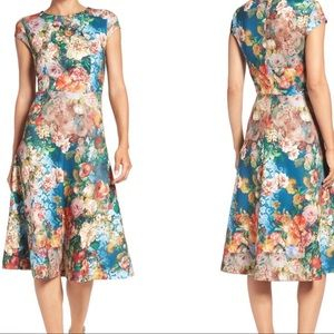 ECI New York Scuba Fit & Flare Floral Dress S14